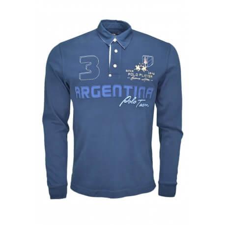 Polo manches longues La Martina Isidore Argentine bleu marine pour homme