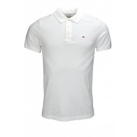 Polo Tommy Hilfiger basic Flag blanc pour homme