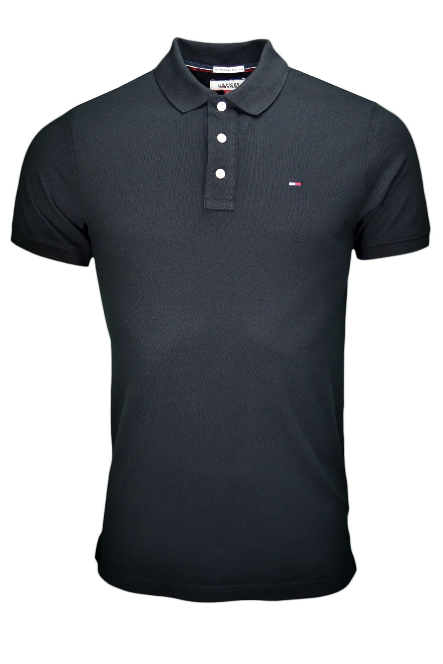 Polo Tommy Hilfiger basic Flag noir pour homme Toujours au meille