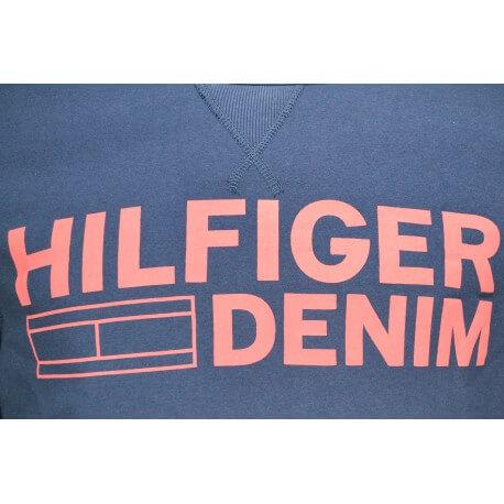 Sweat col rond Tommy Hilfiger Logo bleu marine pour homme