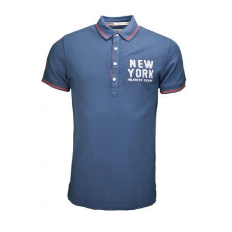 Polo Tommy Hilfiger New York bleu marine pour homme