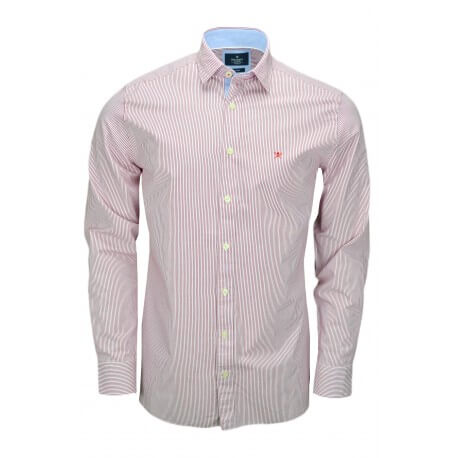 Chemise rayée Hackett Shadow rouge et blanche pour homme