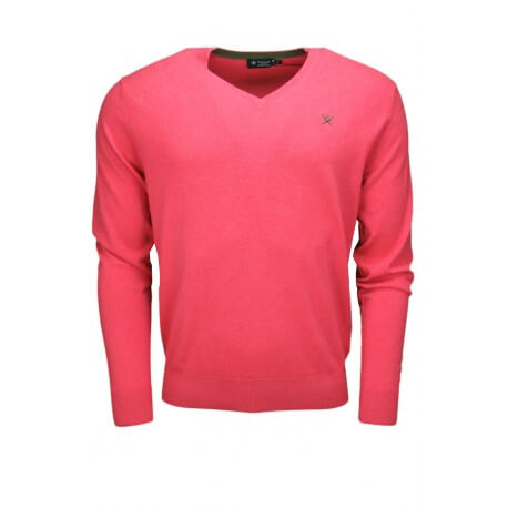 Pull col V Hackett rose pour homme