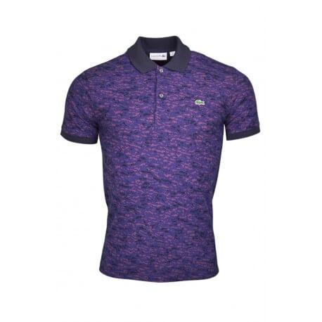 Polo Lacoste à motif violet et marine pour homme